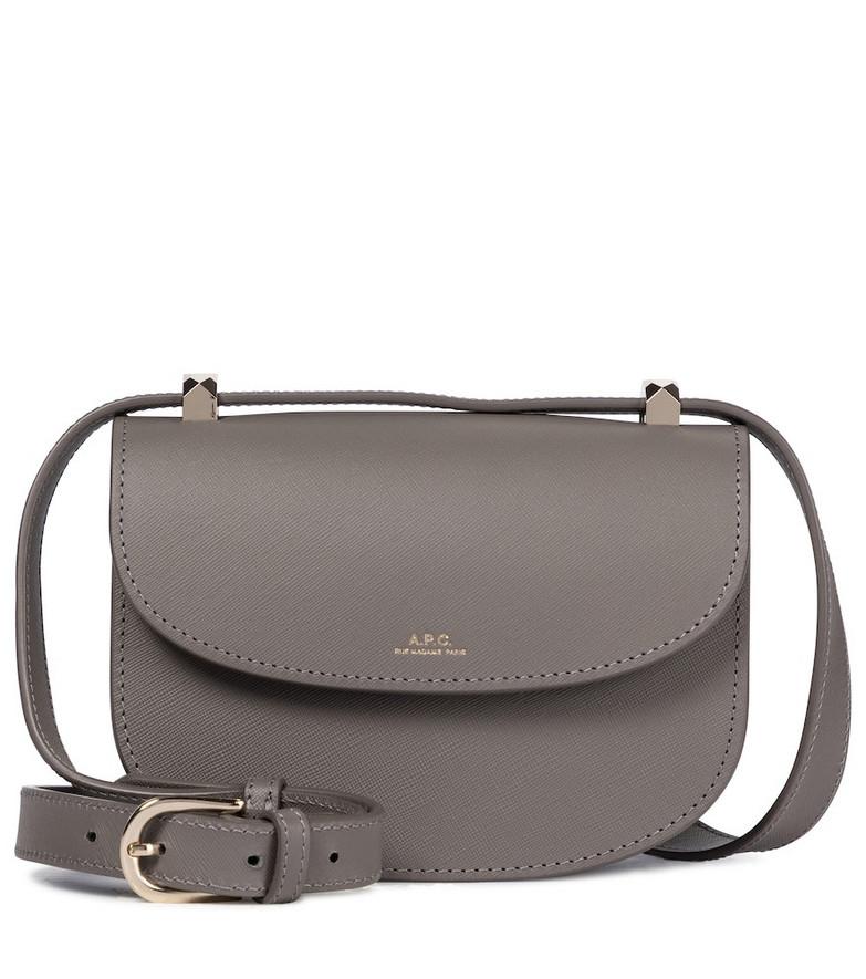 A.P.C. Genève Mini leather shoulder bag in grey