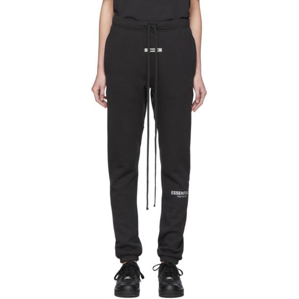 Essentials Black Fleece Reflective Lounge Pants