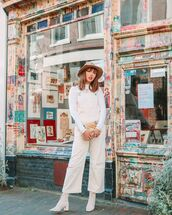 jumpsuit,cropped,lace up boots,white turtleneck top,bag,balenciaga,hat
