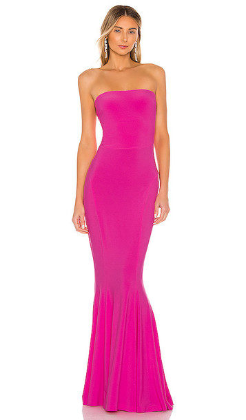 Norma Kamali X REVOLVE Strapless Fishtail Gown in Pink
