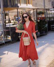 dress,red dress,free people,ballet flats,bucket bag