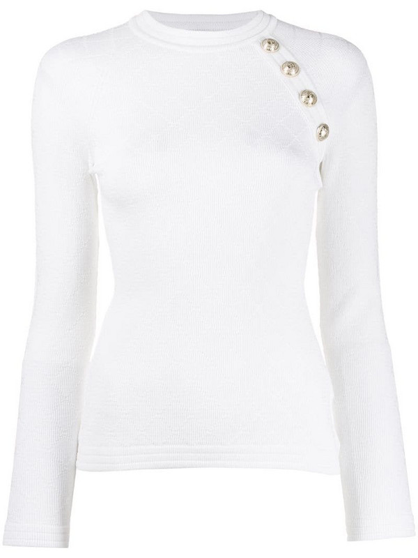 Balmain button-embellished knitted top in white