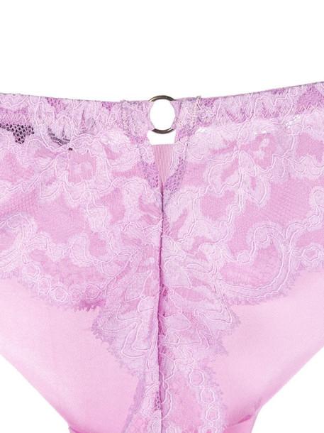 Fleur Du Mal Charlotte lace thong in pink