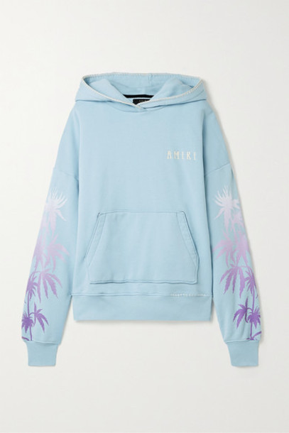AMIRI - Oversized Embroidered Printed Cotton-jersey Hoodie - Sky blue