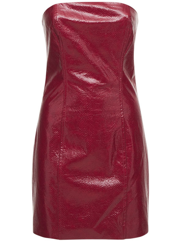 ROTATE Herla Strapless Faux Leather Mini Dress in red