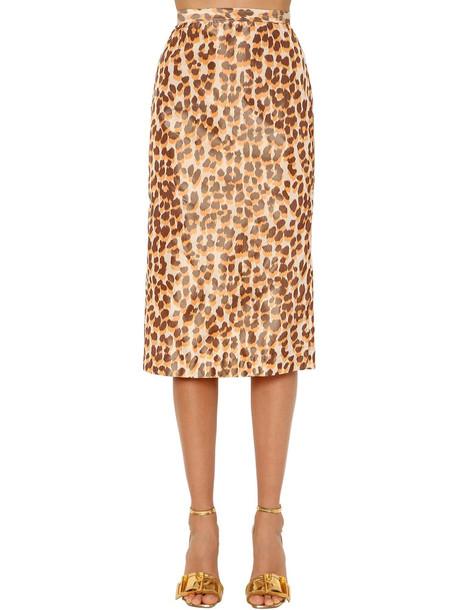 ROCHAS Leopard Print Silk Taffeta Pencil Skirt
