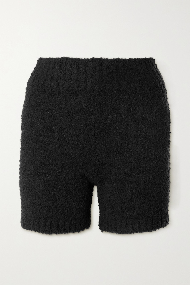 SKIMS - Cozy Knit Bouclé Shorts - Bone in black
