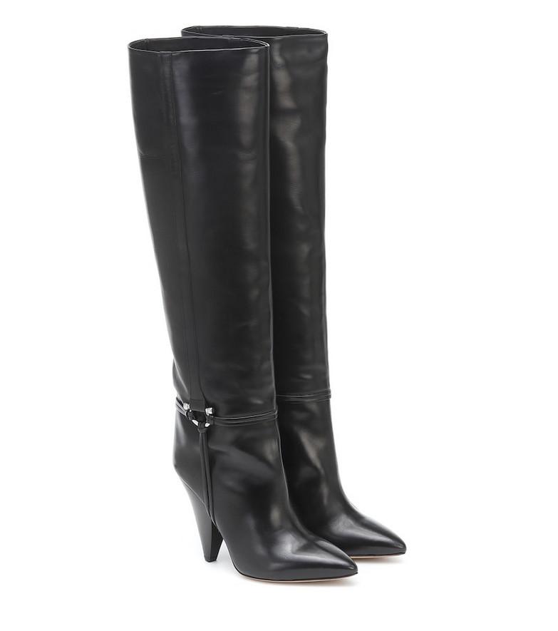 Isabel Marant Lazu leather knee-high boots in black