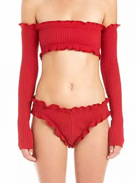 Red Off Shoulder Long Sleeve Ribbed Crop Top - Choies.com