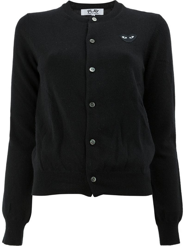 Comme Des Garçons Play button front cropped cardigan in black
