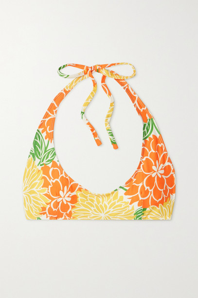 Faithfull The Brand - + Net Sustain Fonda Floral-print Halterneck Bikini Top - Orange