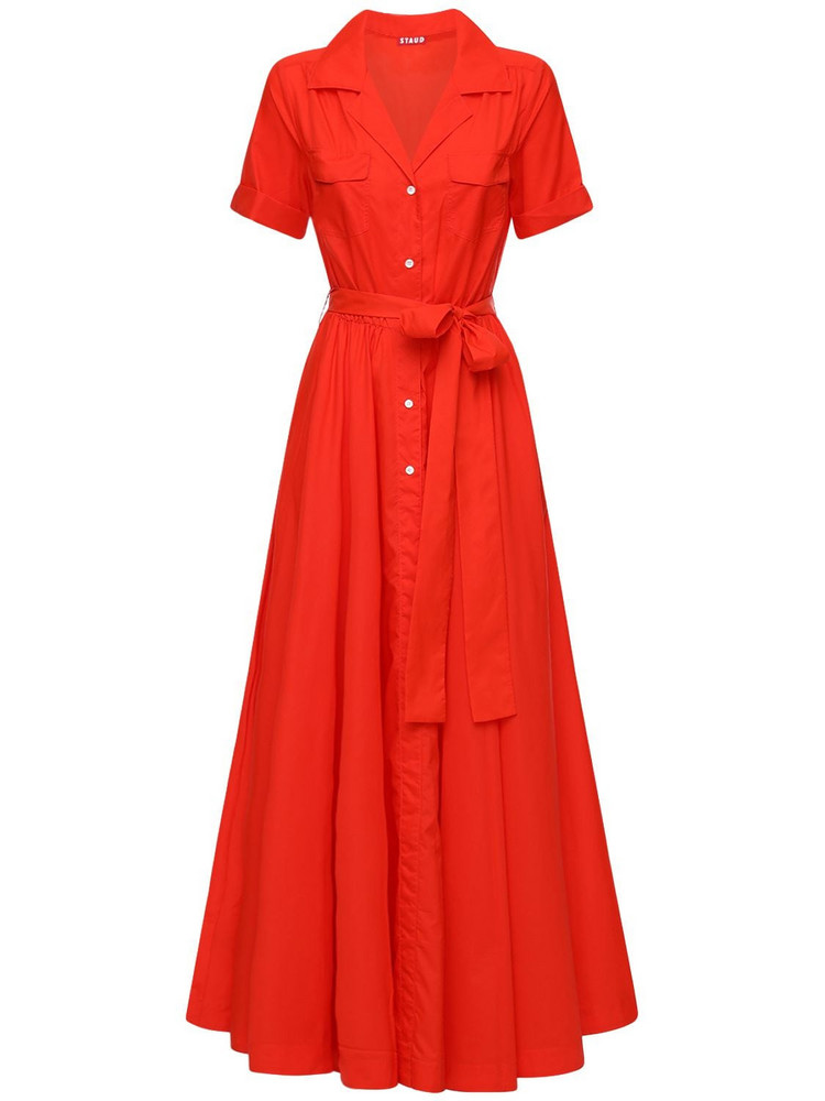 STAUD Recycled Nylon Maxi Dress in red