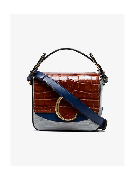 Chloé Chloé Multicoloured C Ring Mock Croc Leather Shoulder Bag in blue