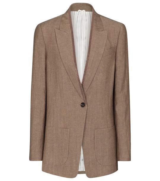 Brunello Cucinelli Embellished wool and linen blazer in brown