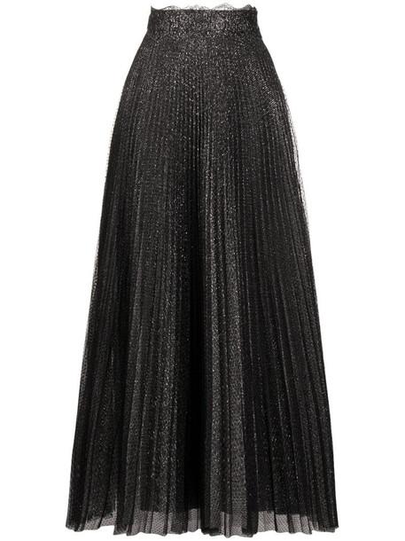 Christopher Kane glitter tulle pleated skirt in black