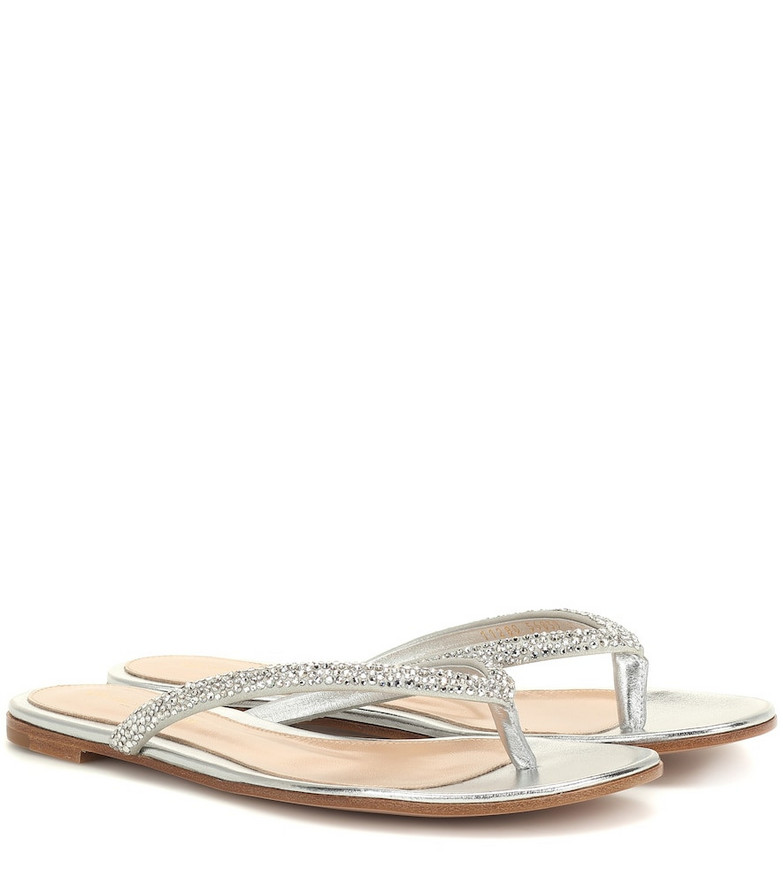 Gianvito Rossi Diva embellished sandals in metallic