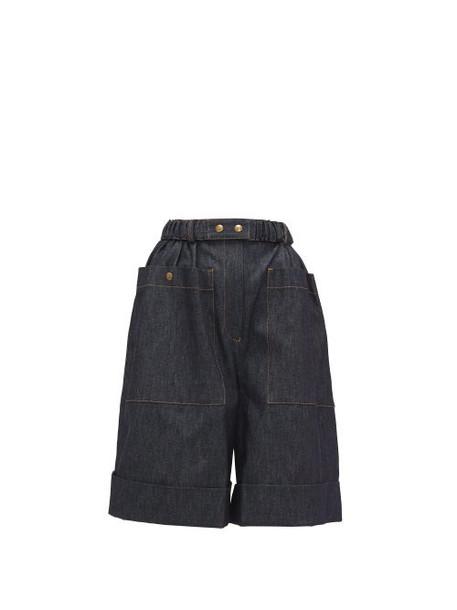 Symonds Pearmain - High-rise Belted Denim Shorts - Womens - Denim