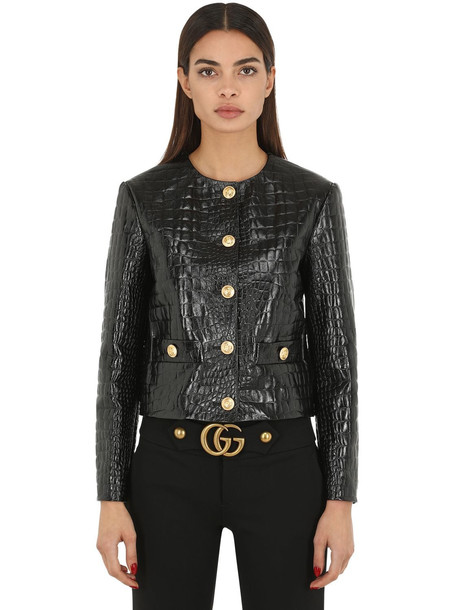 GUCCI Croc Embossed Leather Jacket in black