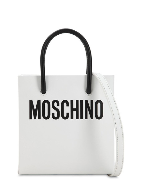 MOSCHINO Logo Printed Leather Shoulder Bag in white