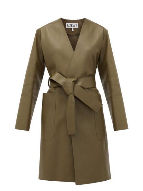 Loewe - V-neck Belted Leather Coat - Womens - Khaki