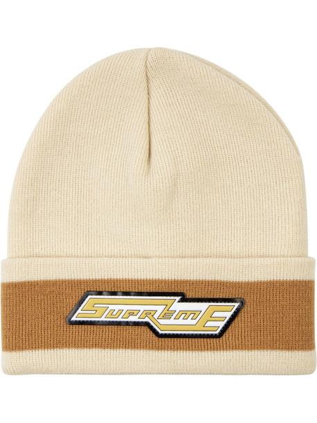 Supreme Cuff Stripe beanie hat in neutrals