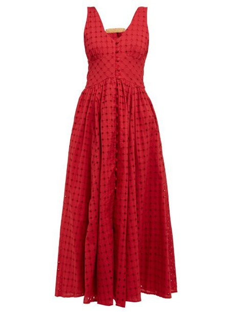 Cult Gaia - Angela Buckled Broderie Anglaise Cotton Dress - Womens - Dark Red
