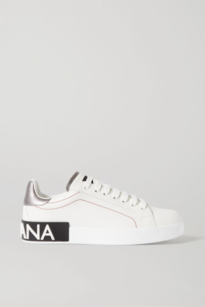 Dolce & Gabbana - Logo-embellished Leather Sneakers - White