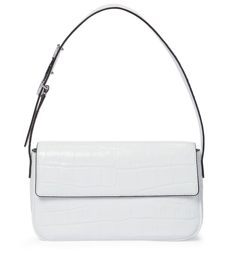 Staud Tommy croc-effect leather shoulder bag in white