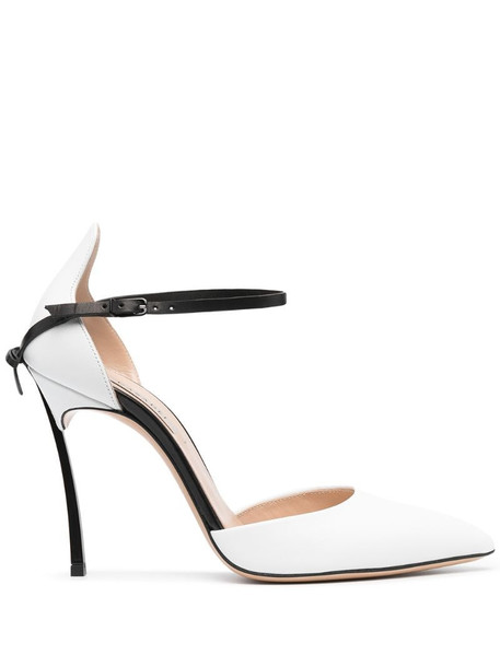 Casadei two-tone buckle leather pumps in white