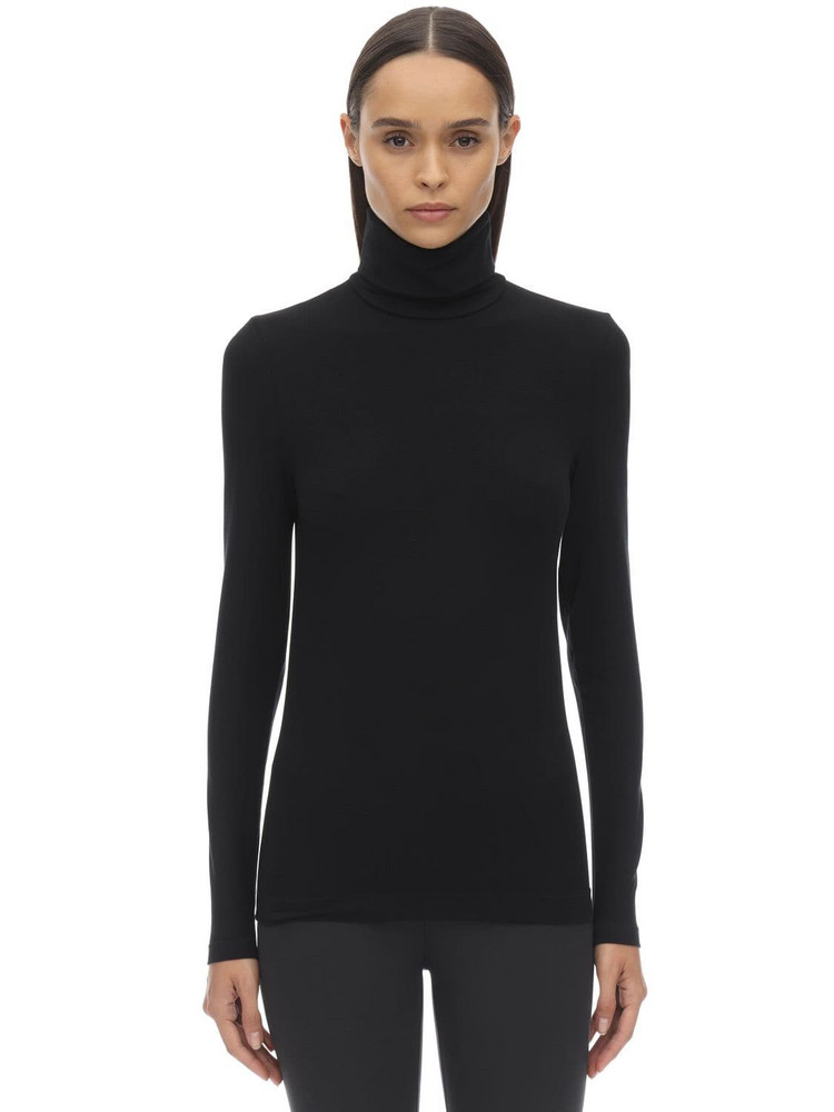 WOLFORD Sustainable Aurora Turtle Neck Top in black