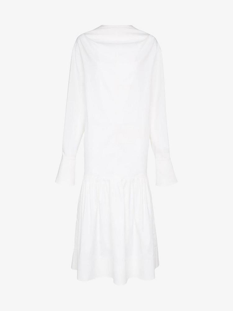 George Keburia Dropped Hem Cotton and Silk Midi Dress in white