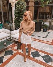 skirt,white skirt,denim skirt,mini skirt,high waisted skirt,ankle boots,heel boots,belt,handbag,fendi,sweater,beret,sunglasses
