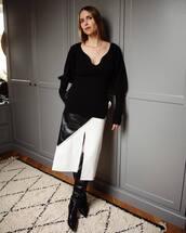 sweater,pernille teisbaek,blogger,blogger style,midi skirt,instagram,black and white
