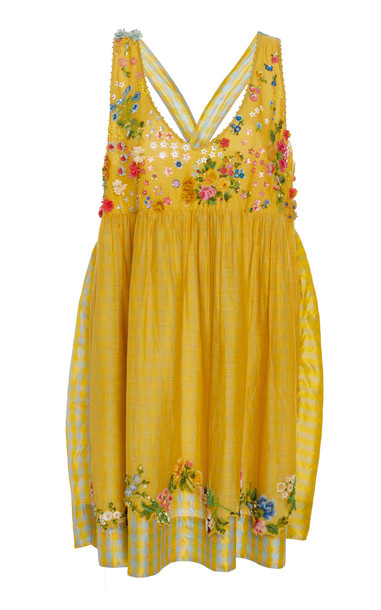 Péro Beaded Cotton Dress Size: 38 in yellow