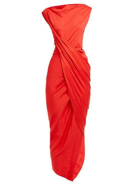 Vivienne Westwood Anglomania - Draped Wrap Jersey Dress - Womens - Red