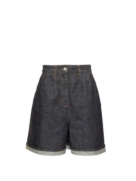 Loewe - High-rise Wide-leg Denim Shorts - Womens - Indigo