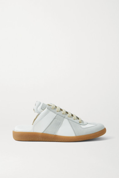 Maison Margiela - Replica Leather And Suede Slip-on Sneakers - White