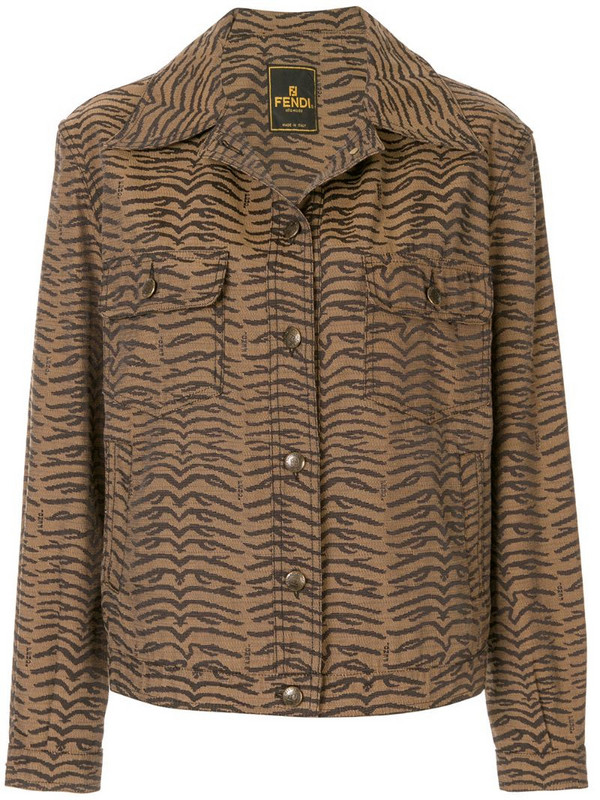 Fendi Pre-Owned zebra pattern long sleeve jacket in brown