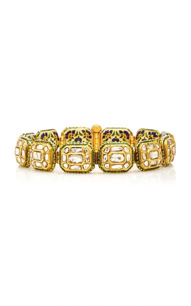Eleuteri Vintage 18K Yellow Gold, Diamonds and Enamel Bracelet