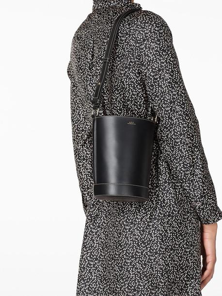 A.P.C. Ambre Seu Leather Shoulder Bag in black