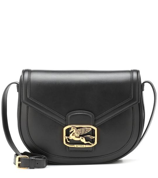Etro Pegaso leather shoulder bag in black