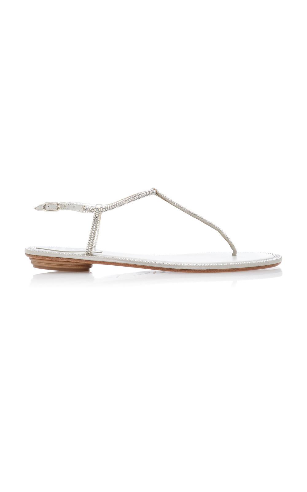 Rene Caovilla Crystal-Embellished Satin Sandals in silver