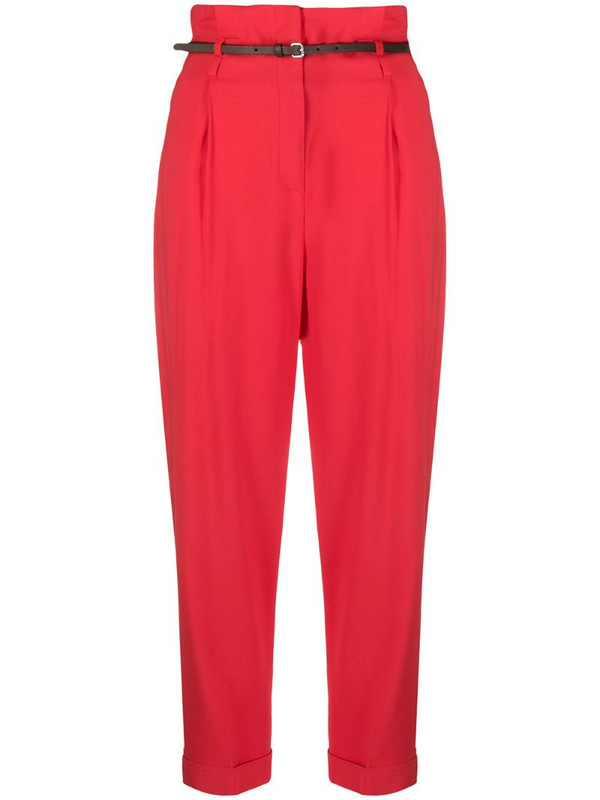 Peserico cropped paperbag waist trousers in red