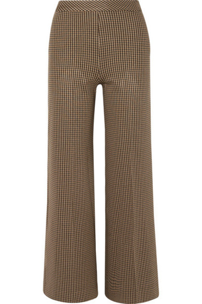 Rosetta Getty - Houndstooth Jacquard-knit Straight-leg Pants - Brown
