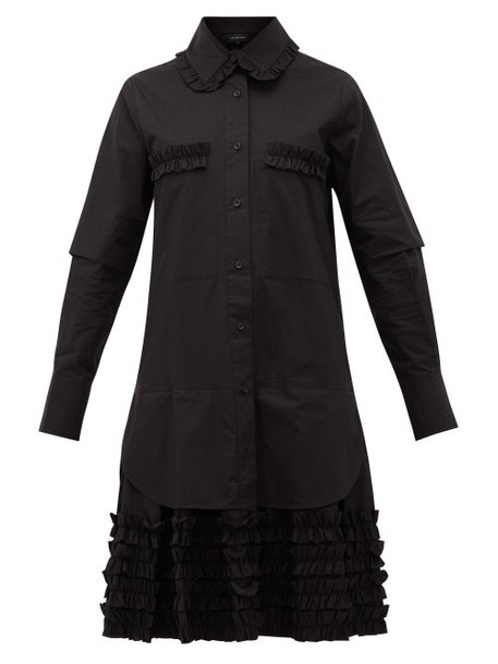 Lee Mathews - Elsie Ruffle-hem Cotton-poplin Shirtdress - Womens - Black