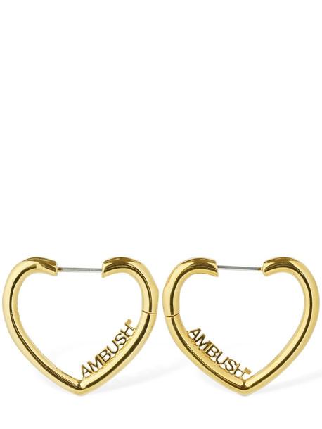 AMBUSH Heart Hoop Earrings in gold