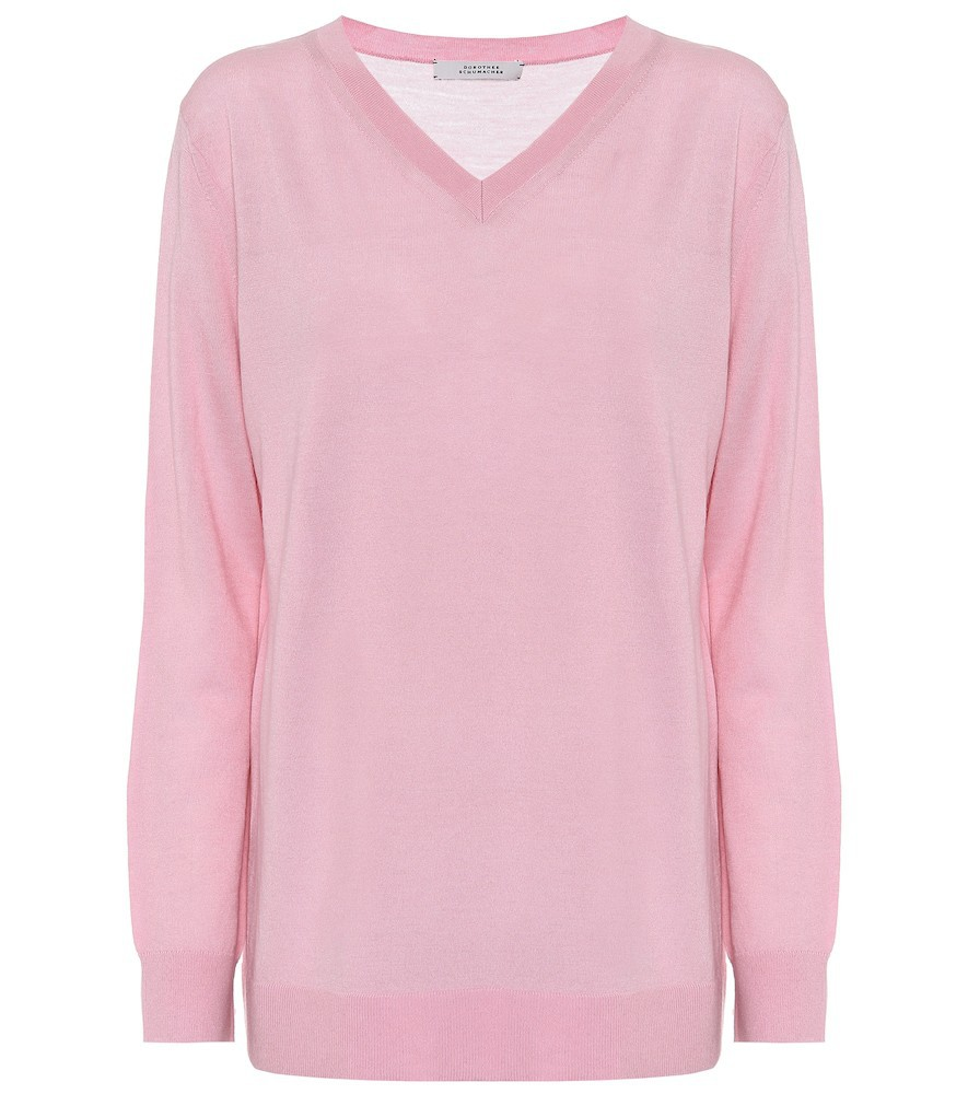 Dorothee Schumacher V-neck wool sweater in pink