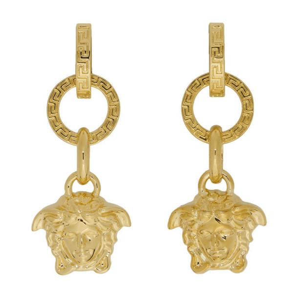 Versace Gold Three-Ring Medusa Earrings