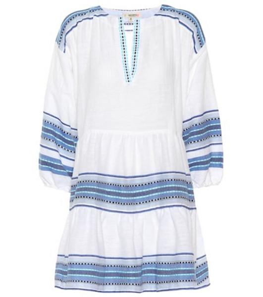 Lemlem Welela cotton-blend mini tunic dress in blue