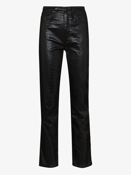 FRAME Le High skinny mock croc trousers in black